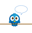 Blue bird sitting on rope vector image vector image