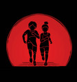 boy and girl running together children running vector image