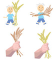 boy holds ears of wheat in hands vector image vector image