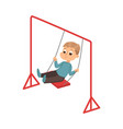boy riding on swing kid having fun on playground vector image vector image