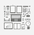 Business Items Flat Icons Set vector image