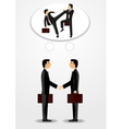 businessmen shaking hands and fighting vector image