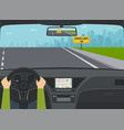 car on highway view from the inside vector image vector image