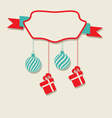 Christmas celebration card with hanging balls and vector image vector image
