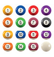 collection billiard pool balls with numbers vector image