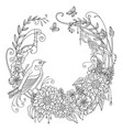 coloring flowers and birds 9 vector image