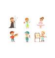 cute kids various professions set singer vector image vector image