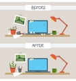 Dirty and clean work table vector image
