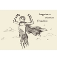 Drawn boy freedom creativity consept sketch vector image