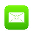 envelope with wax seal icon digital green vector image vector image