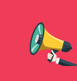 flat design megaphone icon with human hand on red vector image