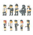 Flat design of police set vector image vector image