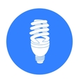 Fluorescent lightbulb icon in black style isolated vector image