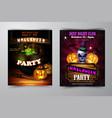 halloween party flyer with pumpkins vector image vector image