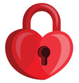 heart shaped red padlock with a key hole on white vector image