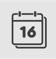 icon calendar day number 16 line flat vector image vector image