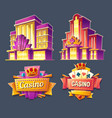 icons casino buildings and retro signboards vector image