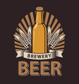 label for beer in brown color vector image vector image