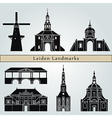 Leiden landmarks and monuments vector image vector image