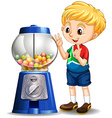 Little boy by the candy machine vector image vector image