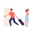 man leaves home family quarrel crying woman vector image vector image