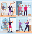 man looking in mirror set vector image vector image