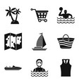 map of beach icons set simple style vector image vector image