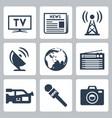 mass media icons set vector image