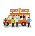 mobile restaurant cartoon vector image vector image