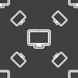 monitor icon sign Seamless pattern on a gray vector image vector image