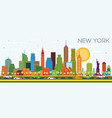 new york usa city skyline with color skyscrapers vector image vector image