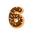 number 6 donut doughnut font six sweet alphabet vector image vector image