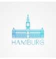one line minimalist icon of German Hamburg vector image vector image