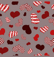 pattern ofabstract redwhite and burgundy hearts vector image