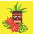 Poster with tropical palm leaves and flowers vector image vector image