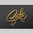 realistic golden inscription sale on a black vector image vector image