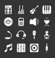 recording studio symbols icons set grey vector image vector image