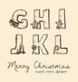 retro christmas alphabet - g h j k l i vector image vector image