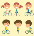 school girls on the bikes vector image vector image