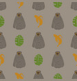 seamless pattern with monkey banana and leaf vector image vector image