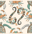 seamless pattern with turtles crabs and lizards vector image