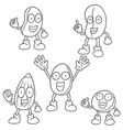 set of beans cartoon vector image