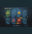 set of hud infographic panels with brain head-up vector image vector image
