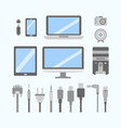 set of pc flat icons cable wire computer vector image vector image