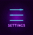 settings ui neon label vector image