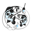 silhouette of fish for fishing vector image vector image