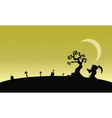 Silhouettte of warlock in tomb at afternoon vector image vector image