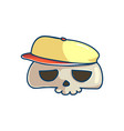 skull character with cap vector image vector image