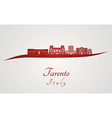 Tarento skyline in red vector image vector image