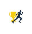 trophy run logo icon design vector image vector image